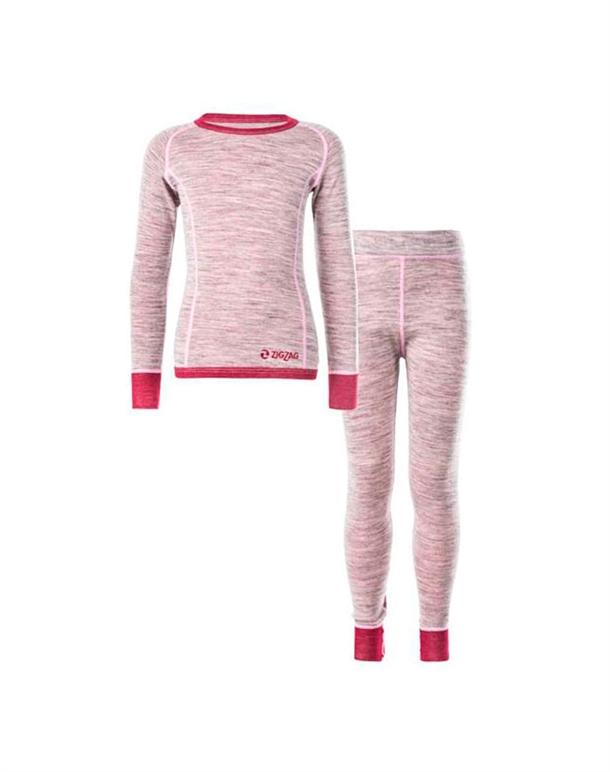 Zig Zag Pattani Wool Underwear Set Skiundertøj Lyserød Børn