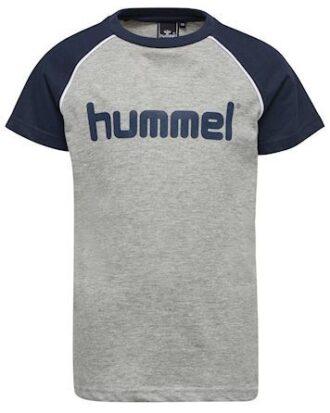Hummel T-shirt HMLJulian T-shirt SS Grå-Navy Dreng