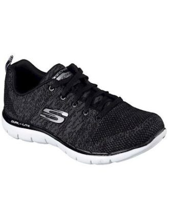 Skechers Flex Appeal 2.0 - High Energy SKO Sort-Hvid Dame