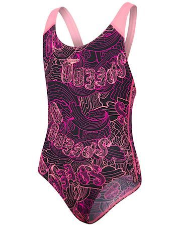 Speedo Badedragt Allover Splashback Sort-Pink Pige