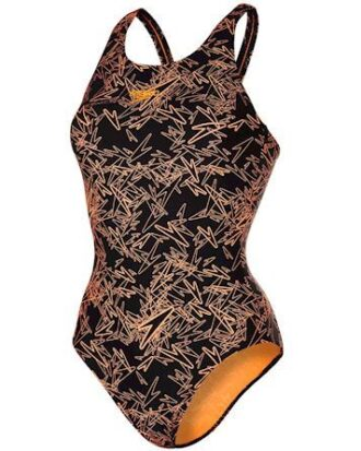 Speedo Badedragt Boom Allover Muscleback Sort-Orange Dame
