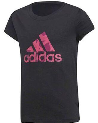 Adidas T-shirt YG Logo Tee Sort-Pink Pige