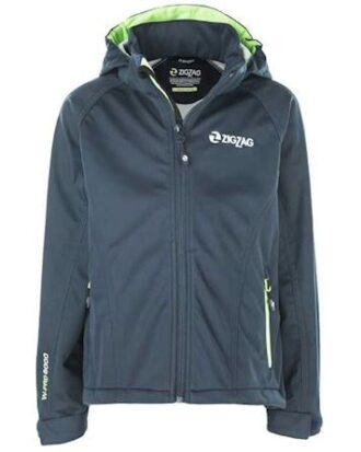 Zigzag Jakke Grand Lake Stretch Softshell W-Pro 8000 Navy-Grøn Dreng