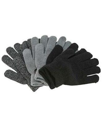 ZigZag Handsker Neckar Knitted 3-Pack Gloves Sort-Grå Børn