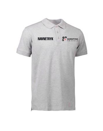 ID 0525 Grå Voksen Polo T-shirt med NFH Tryk og Navn