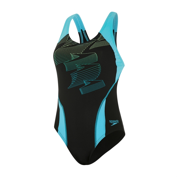 Speedo Boom Placement Racerback Badedragt Sort-Blå Dame