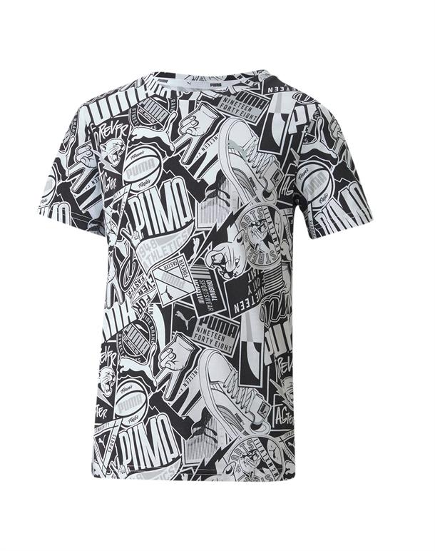 Puma Alpha AOP T-shirt Sort-Hvid Børn