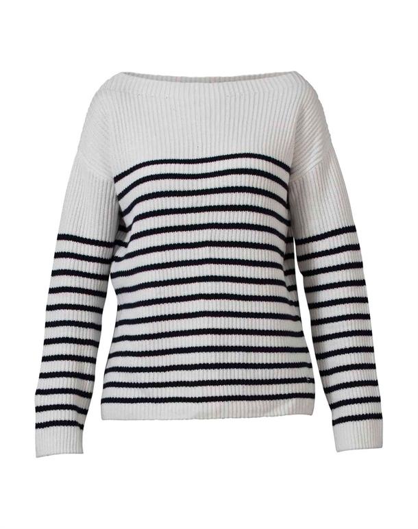 Blue Sportswear Westerly Cotton Knit Trøje Hvid-Navy Dame 1