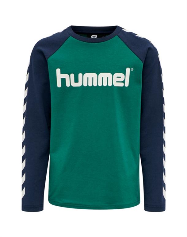 Hummel Boys LS Trøjer Grøn-Blå Børn 1
