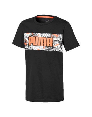 Puma Alpha Graphic T-shirt Sort-Hvid-Orange Børn 1