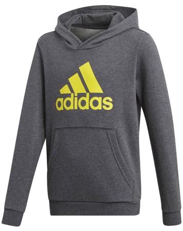 Adidas Hættetrøje YB Logo Hood Mørkegrå-Gul Dreng