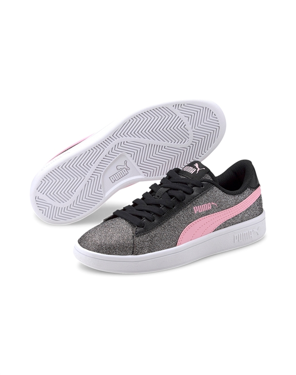 Puma Smash v2 Glitz Glam Børnesko Sølv-Pink Pige 1